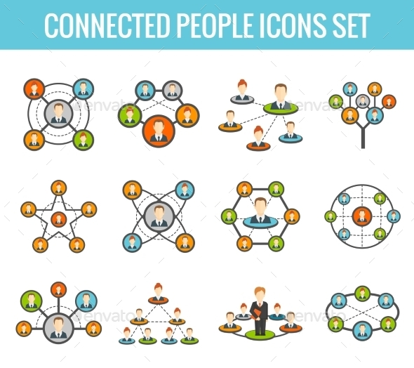 Connected People Flat Icons Set - Communications Technology