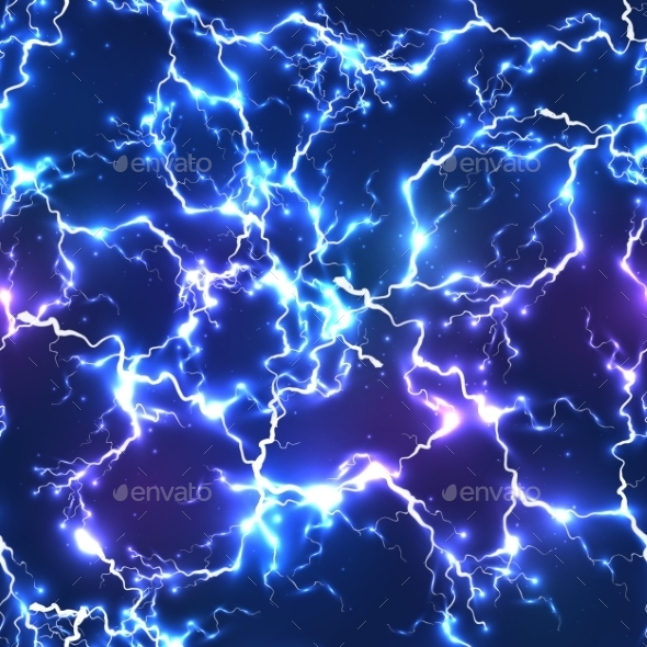 Abstract Blue Electric Lightning Seamless Pattern - Backgrounds Decorative