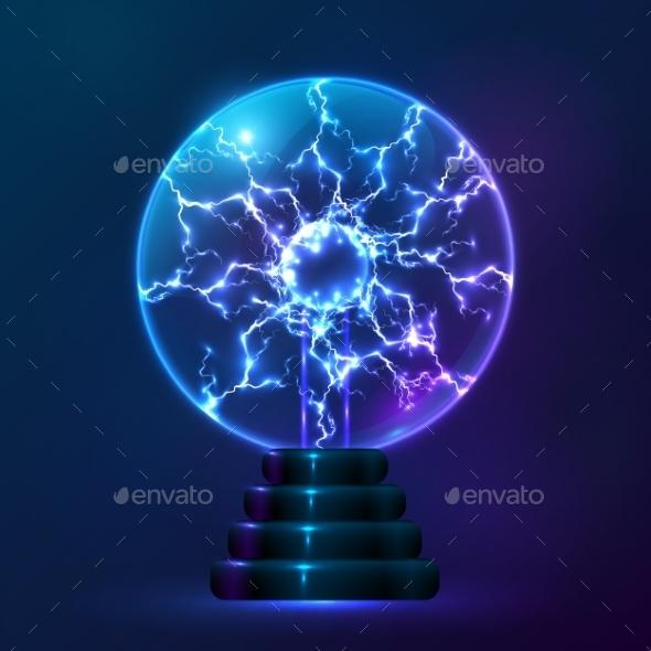 Blue Vector Plasma Ball Lamp - Technology Conceptual