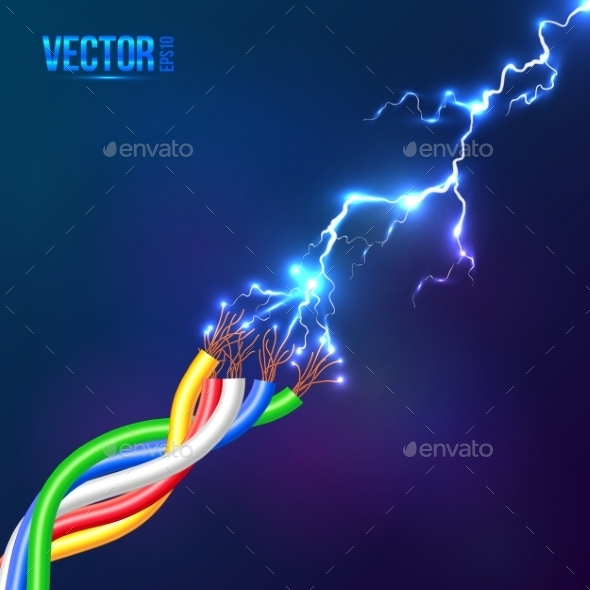 Electric Lightning Flash to Colored Cables - Computers Technology