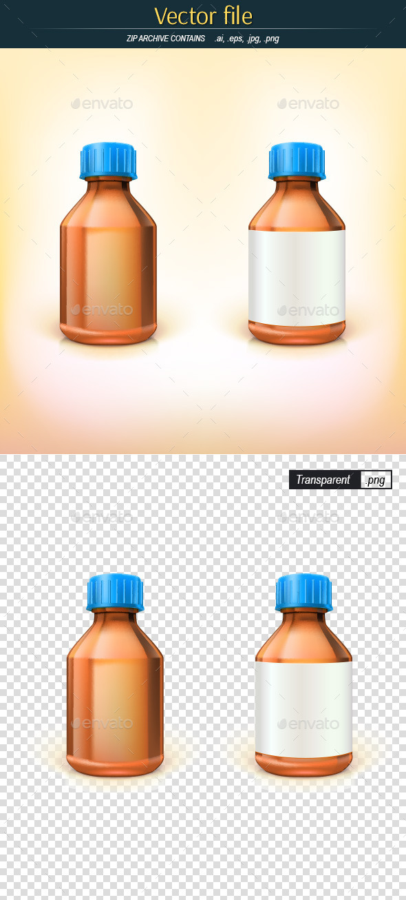 Glass Bottles of Brown Glass - Objects Vectors