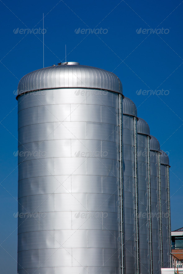 Bright silver tanks - Stock Photo - Images