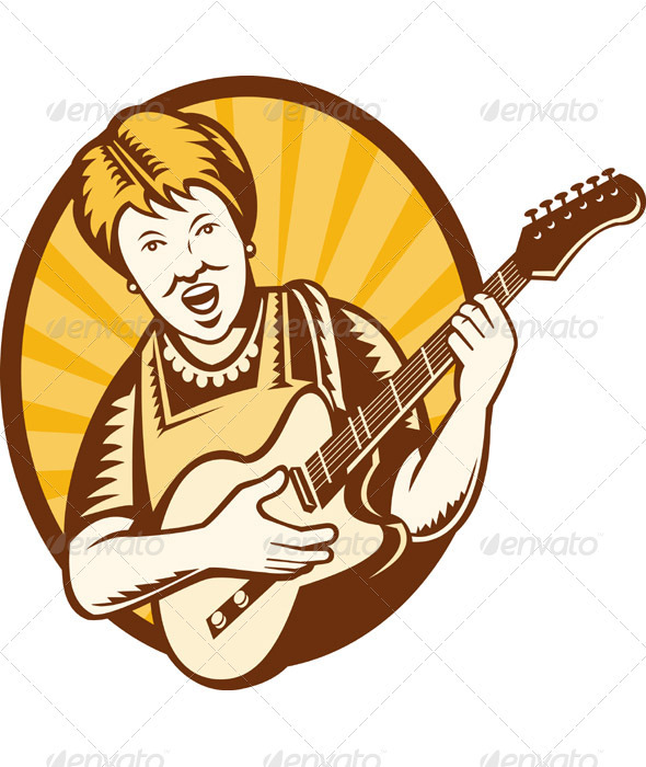 Granny Old Woman Playing Electric Guitar - People Characters