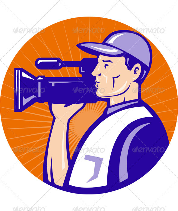 Cameraman Holding Movie Camera Shooting - Industries Business
