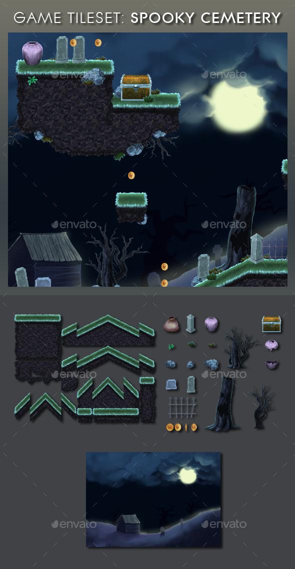 Platform Game Tileset 13: Spooky Cemetery - Tilesets Game Assets