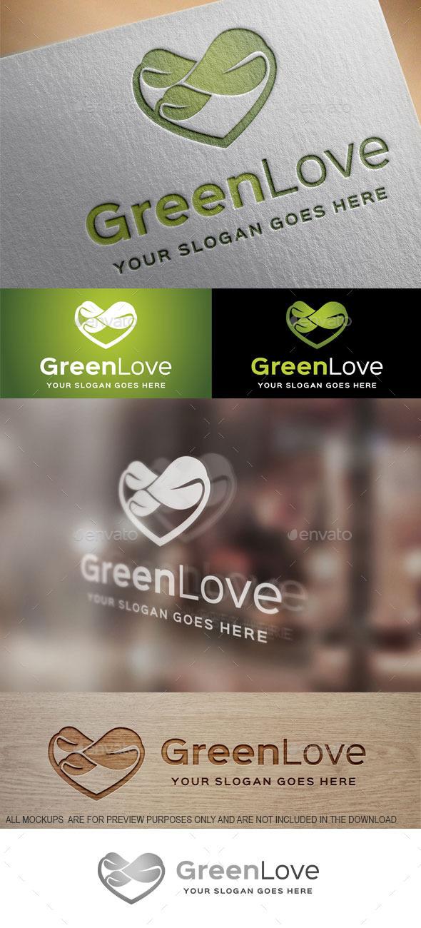 Green Love Logo Template - Nature Logo Templates