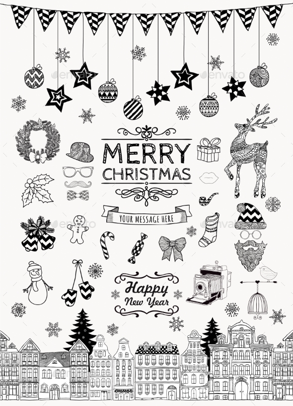 Set of Hand-Drawn Outlined Christmas Doodles - Seasons/Holidays Conceptual