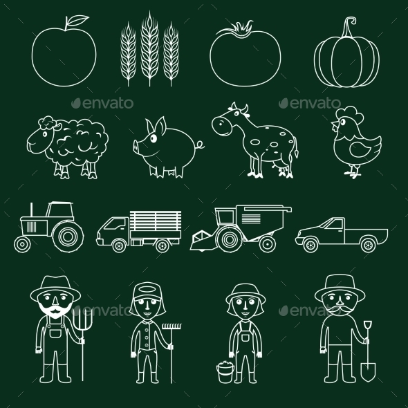Farm Icons Set Outline - Web Elements Vectors