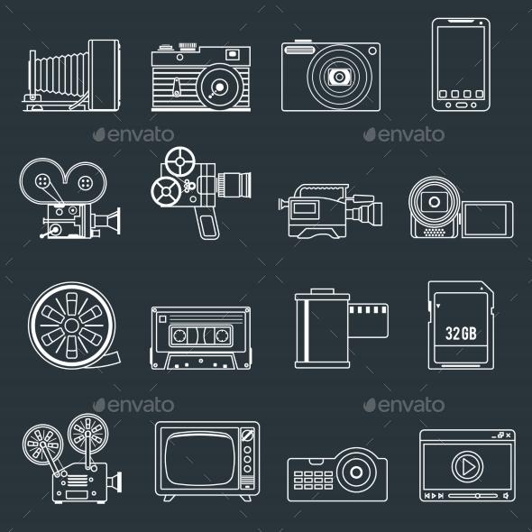 Photo Video Icons Set Outline - Web Elements Vectors