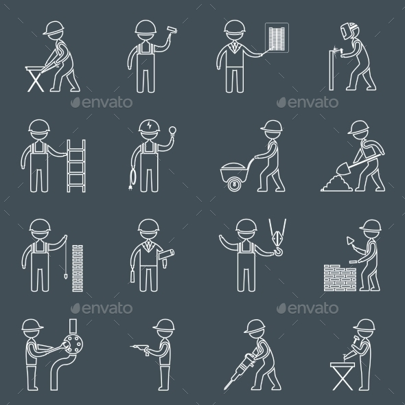 Construction Worker Icons Outline - Web Technology