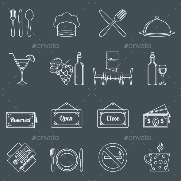 Restaurant Icons Set  - Web Technology