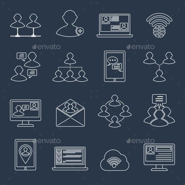 Communication Icons Set Outline - Web Technology