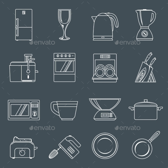 Kitchen Appliances Icons Outline - Web Technology