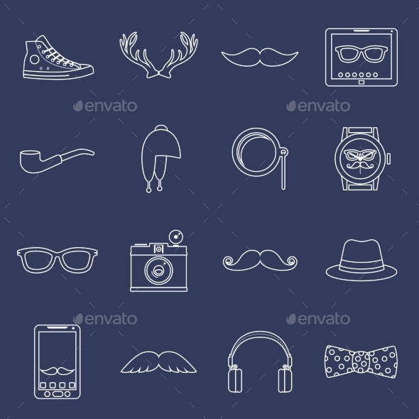 Hipster Icons Set Outline - Web Technology