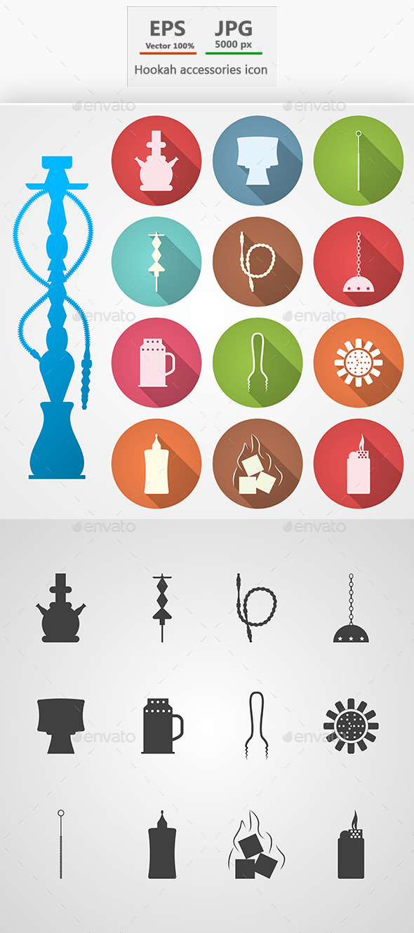 Hookah and Accessories Icons - Miscellaneous Vectors
