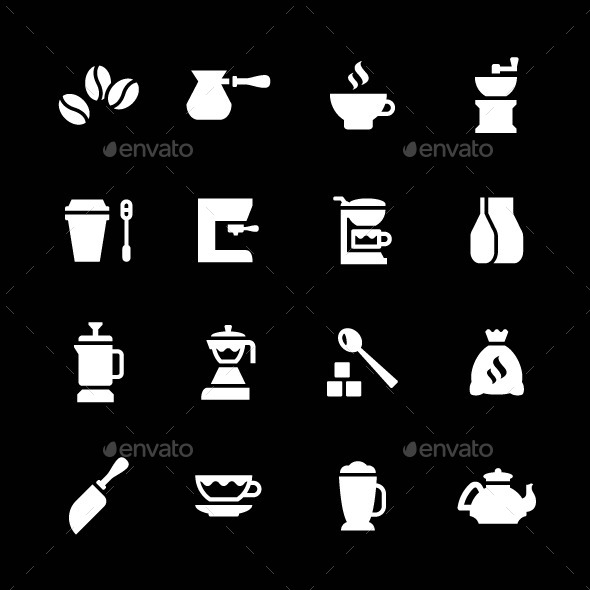 Set Icons of Coffee - Man-made objects Objects
