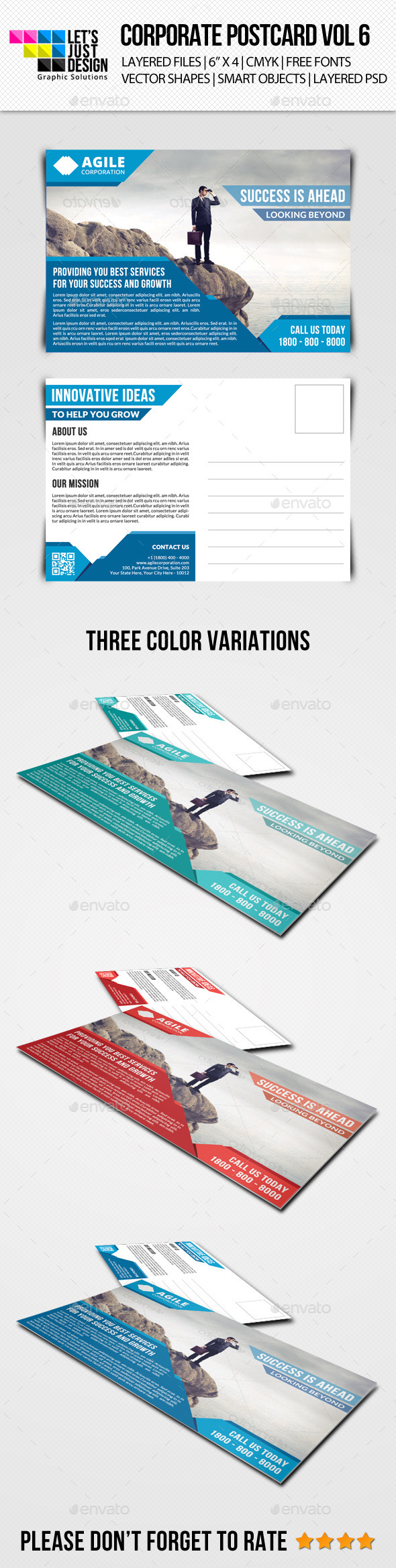 Corporate Postcard Template Vol 6 - Cards & Invites Print Templates