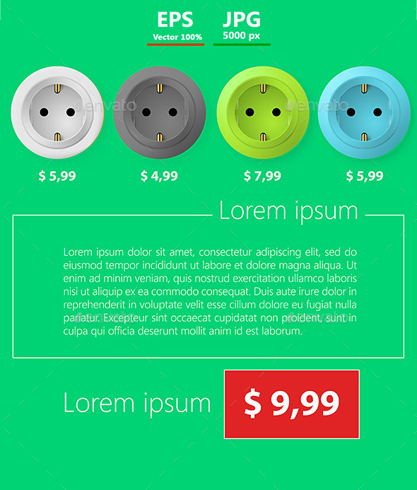 Flat Vector Template Business Design. Sockets. - Commercial / Shopping Conceptual