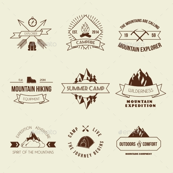 Camping Labels Set - Travel Conceptual