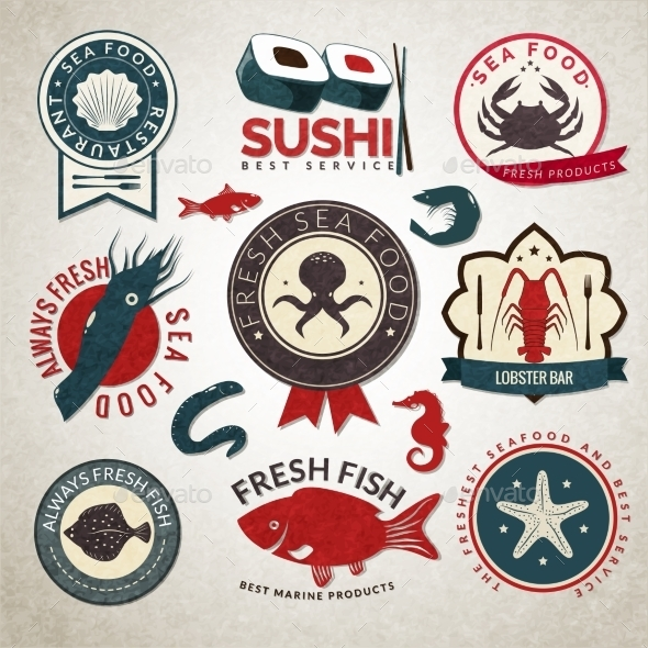 Seafood Labels Set - Food Objects