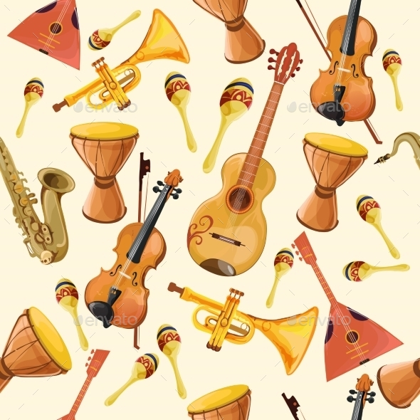 Music Instruments Seamless Pattern - Backgrounds Decorative