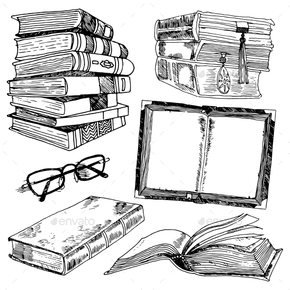 Set of Books Sketches - Miscellaneous Vectors