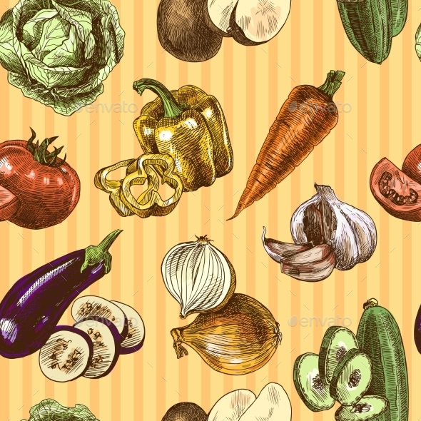 Vegetables Sketch Color Seamless Pattern - Backgrounds Decorative