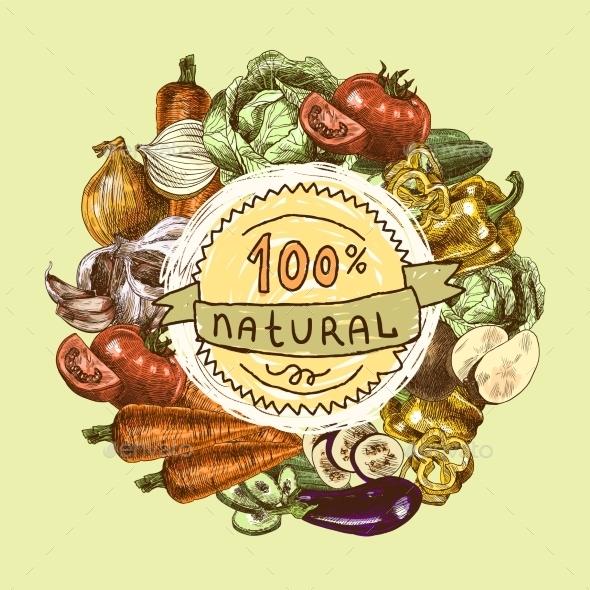 Vegetables Sketch Background - Food Objects