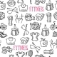 Fitness Sketch Black and White Seamless Pattern - GraphicRiver Item for Sale