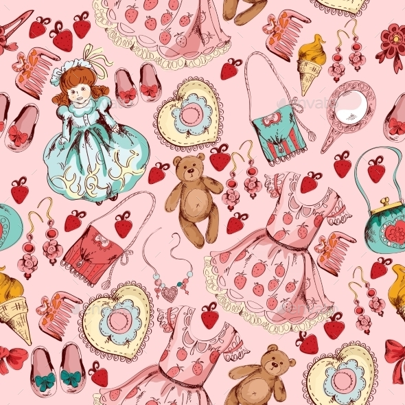 Little Girl Accessories Seamless Pattern - Backgrounds Decorative