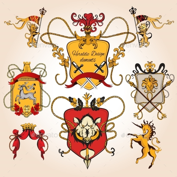 Heraldic Design Colored - Decorative Symbols Decorative