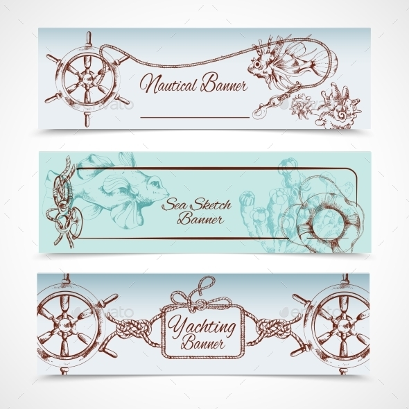 Yachting Banners Set - Travel Conceptual