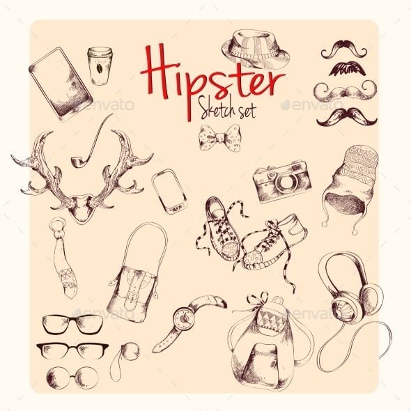 Hipster Sketch Set - Decorative Symbols Decorative