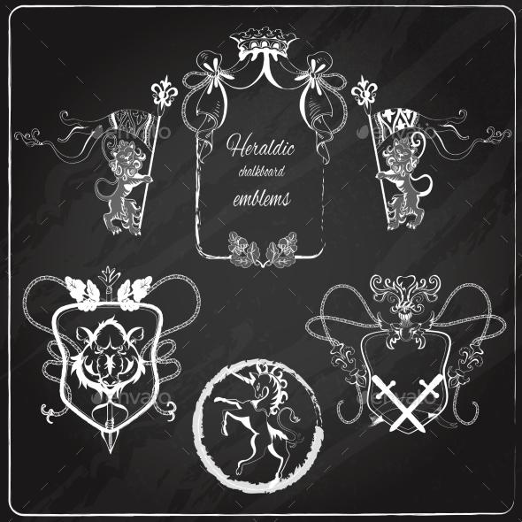 Heraldic Emblems Set - Decorative Symbols Decorative