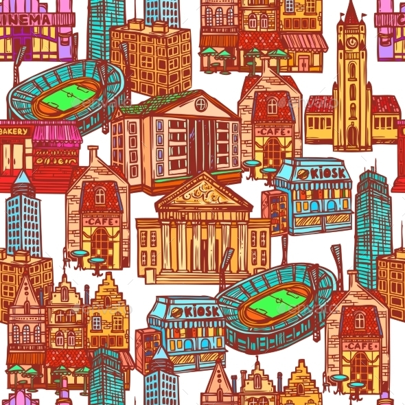 Sketch City Seamless Pattern - Buildings Objects