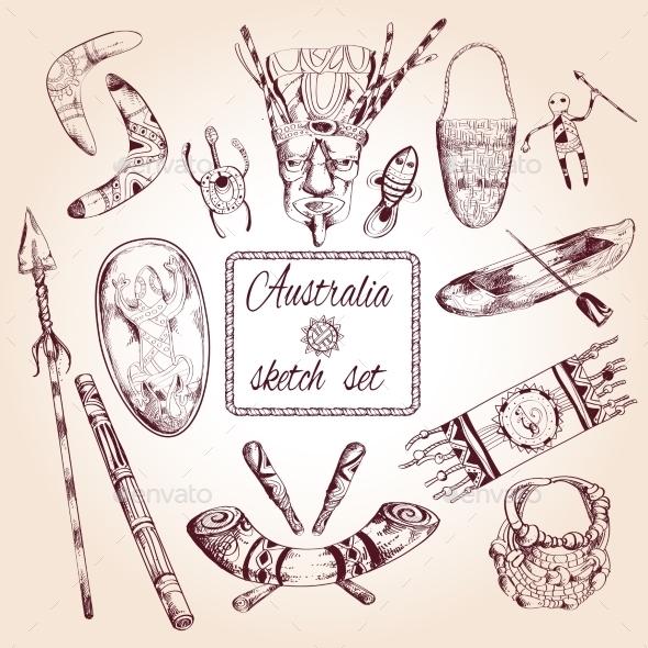Australia Sketch Set - Decorative Symbols Decorative