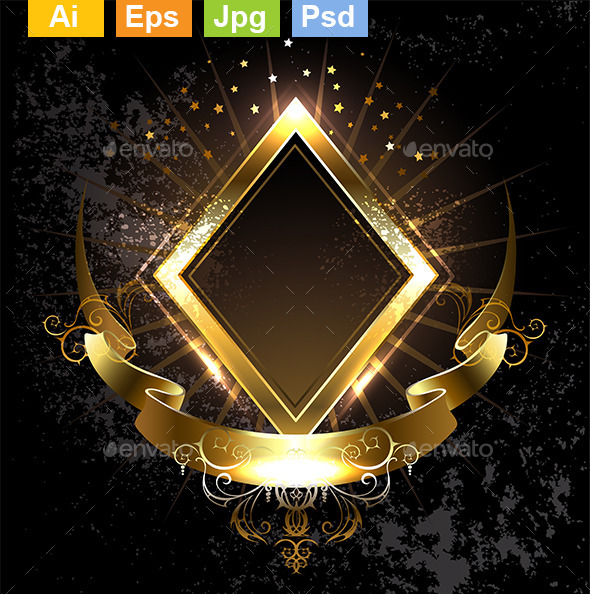Gold Banner Rhombus - Decorative Vectors