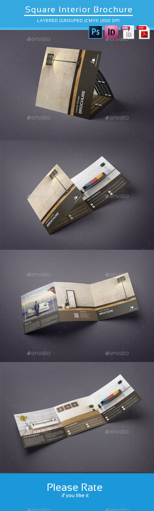 Square Trifold for Interior Design-V42 - Corporate Brochures