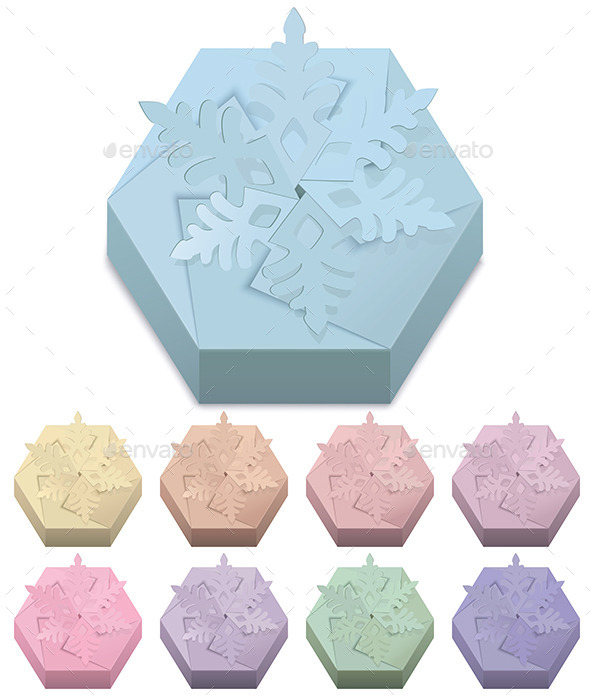 Christmas Paper Gift Boxes with Snowflake - Man-made Objects Objects