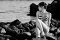 Thinking woman on the rocks - PhotoDune Item for Sale
