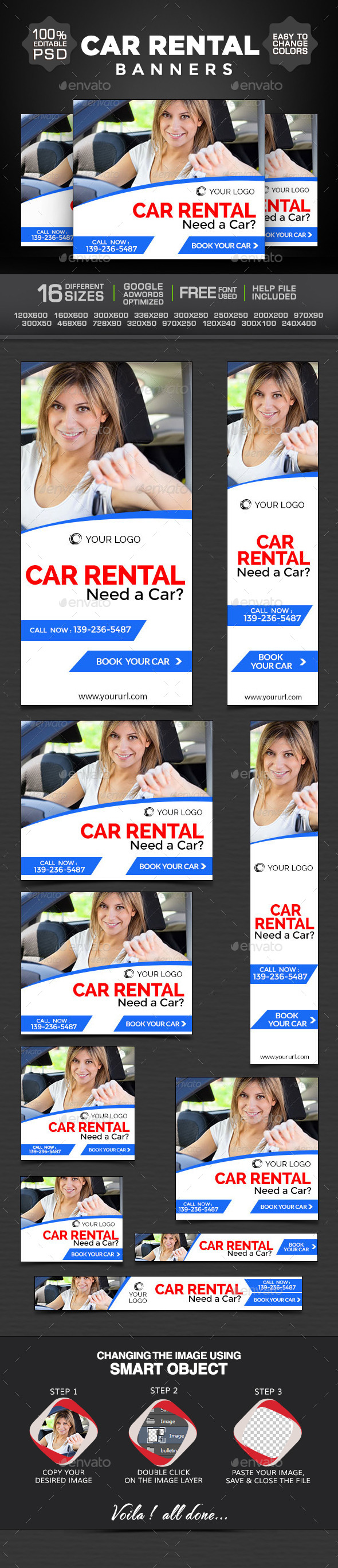 Car for Rent Banners - Banners & Ads Web Elements