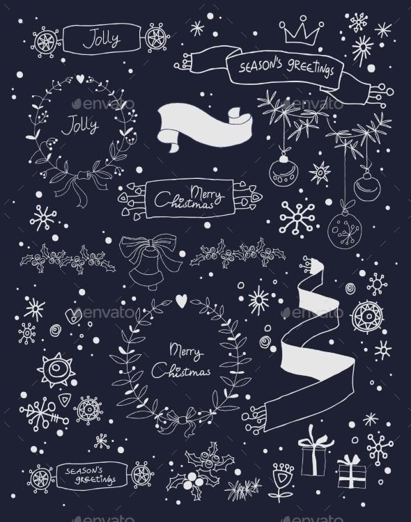 Christmas Design Elements Set on Blackboard - Christmas Seasons/Holidays