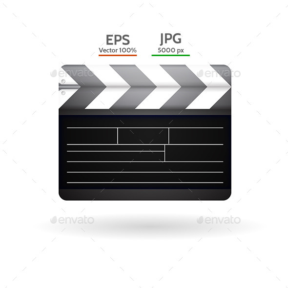 Vector Illustration of Clapboard - Media Technology