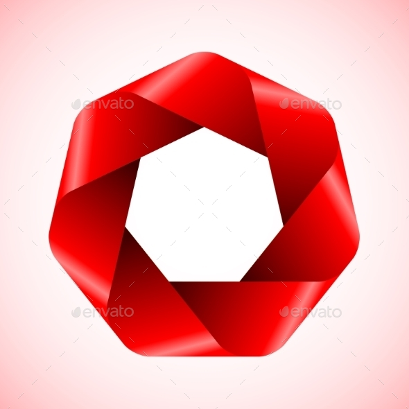 Abstract Red Polygon Icon. - Miscellaneous Conceptual