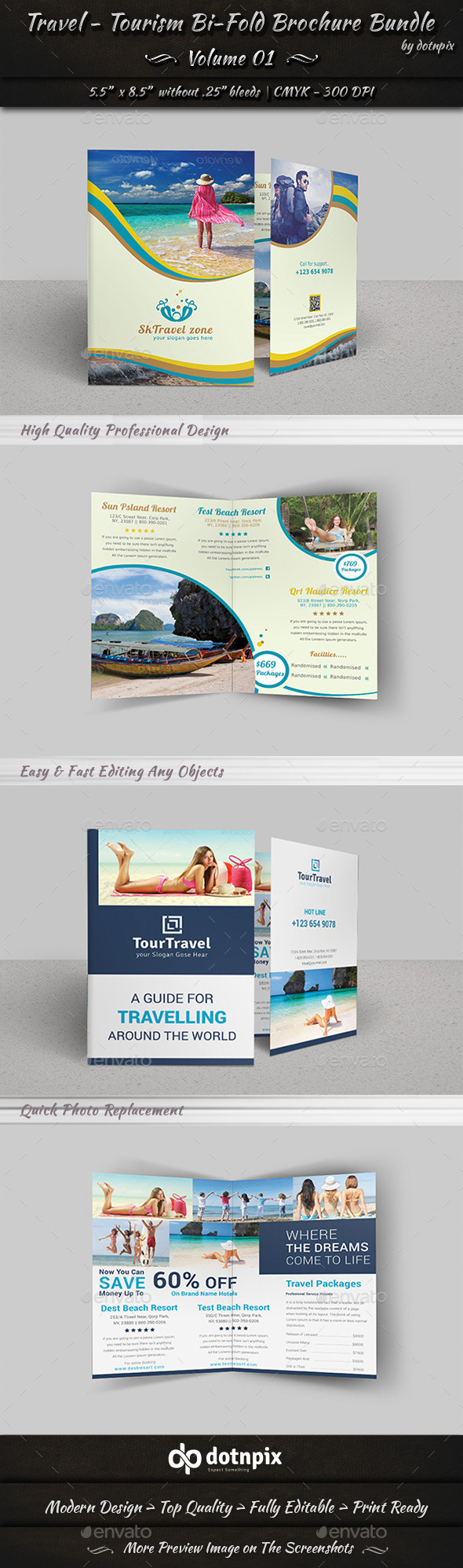 Travel / Tourism Bi-Fold Brochure Bundle | v1 - Corporate Brochures