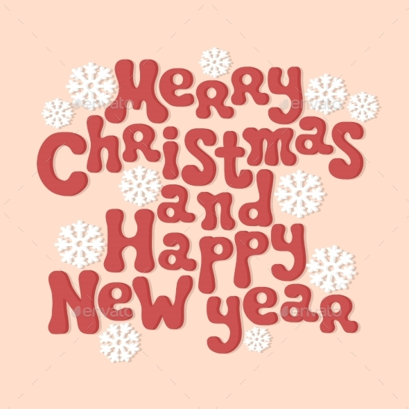 Merry Christmas and Happy New Year Lettering - Christmas Seasons/Holidays