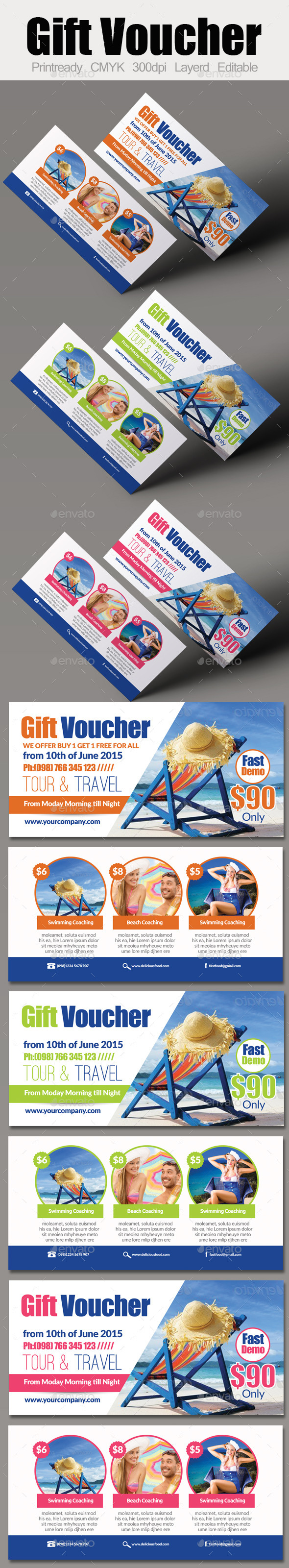Tour Travel Gift Voucher - Cards & Invites Print Templates