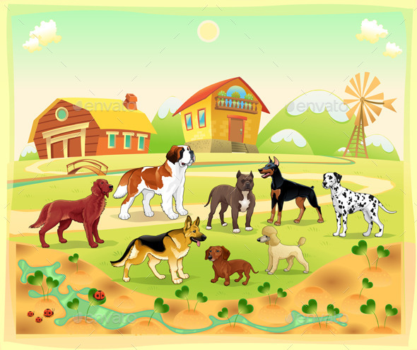 Landscape with Group of Dogs - Animals Characters