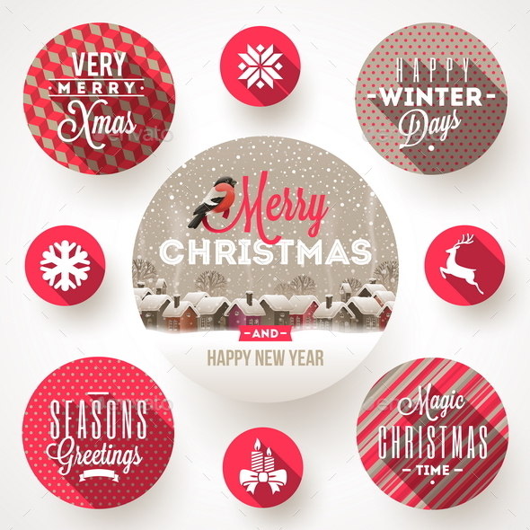 Set of Christmas Greetings Design and Flat Icons - Christmas Seasons/Holidays