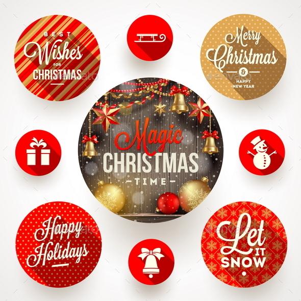 Set of Christmas Greetings Design and Flat Icons - Christmas Seasons/Holidays